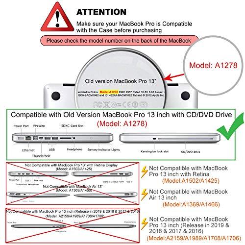 MOSISO Hülle Kompatibel mit MacBook Pro 13 mit CD-ROM Drive - Plastik Hartschale Hülle Kompatibel mit Alt MacBook Pro 13 Zoll (A1278, Version Early 2012/2011/2010/2009/2008), Navy Blau