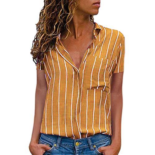 Frauen-T-Shirt beiläufiges gestreiftes Druck-Kurzarm-Hemd Bluse Button Down Tops(Gelb,M)