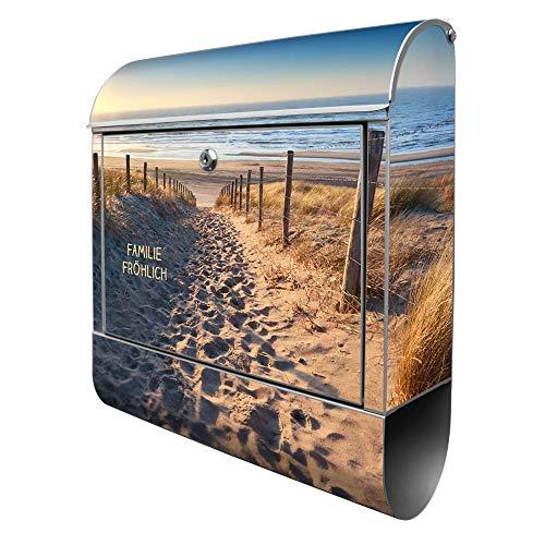 Banjado Design Briefkasten personalisiert mit Motiv Nordseestrand   Stahl pulverbeschichtet mit Zeitungsrolle   Größe 39x47x14cm, 2 Schlüssel, A4 Einwurf, inkl. Montagematerial