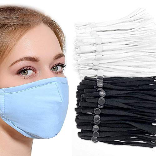Adjustable Elastic Sewing Band 1/4 inch Adjustable Elastic 120PCS DIY Mask (60white+60black)