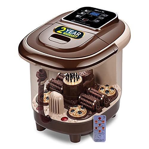 iBELL FTM140K Full Automatic Foot Massager Machine with Remote Control Function, 2 Types of Auto-Rollers, Bubble Function, Foot Spa with Temperature Control, Vibration & Water Heating. For Blood Circulation, Pain Relief & Relaxation (Brown)