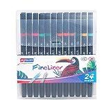 YWRD Lettering rotuladores rotuladores Punta Fina Plumas de Arte Metálico Marcador Plumas Paquete de bolígrafos para Colorear para Adultos 24