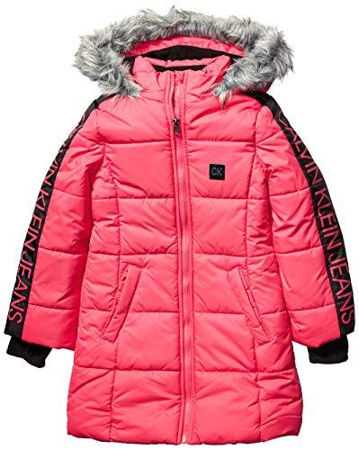 Calvin Klein Big Girls' Long Puffer Jacket, Aerial Raspberry Pop Duo, XL16