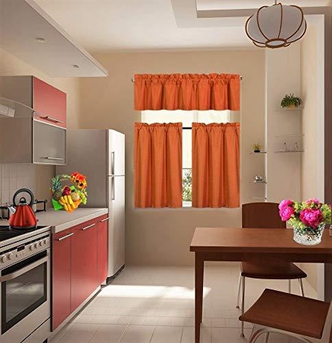 GorgeousHome (7LO) 3PC Kitchen Set 2 Tier +1 Valance Geometric 2-Shade Print Lined Blackout Window Curtain Rod Pocket Top Panel Drape Many Colors (Burnt Orange)