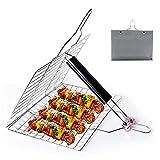 Jsdoin Griglia pieghevole per barbecue, Griglia pieghevole portatile per grigliate, in acciaio inox, per pesce, verdure, gamberetti, Argento, 32*22 cm