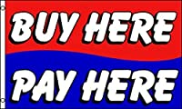 Buy Here Pay Hereフラグ3' x 5'デラックスインドアアウトドアDealershipバナーby Nuge