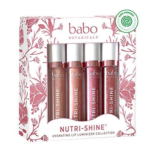 Babo Botanicals 70+% Organic Nutri-Shine Luminizer Vegan Lip Gloss Gift Set - 4- pack 0.14 oz.