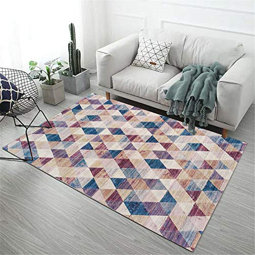Alfombras Para Dormitorio morado Alfombra de salón alfombra suave con patrón de triángulo pequeño borroso púrpura antideslizante Alfombra Para Niños Los 80X160CM Alfombra Suelo 2ft 7.5''X5ft 3''