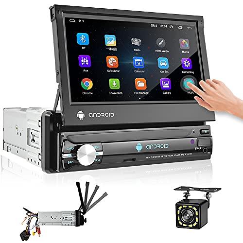 Hikity Android Autoradio 1 Din Bluetooth Auto Radio Navigation GPS Écran Tactile Rétractable De 7 Pouces Récepteur FM, Mirror Link, WiFi Connect Entrée Caméra De Recul