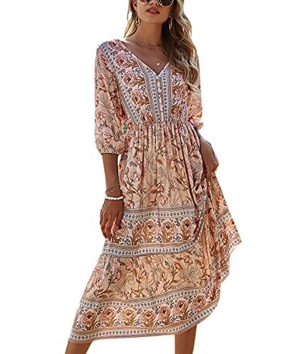 ACLOIN Maxikleider Damen Blumen Kleider Sommerrock Sommerkleid Lang Strandkleid Boho V-Ausschnitt Kleid (Aprikose, L)