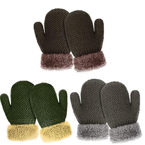 TAGVO Winter Kleinkind Handschuh Handschuhe, 3 Paare Jungen Mädchen Baby Handschuhe Sherpa Vlies Gezeichnete Starke Thermische Kinder Strickten Handschuhe für Draußen