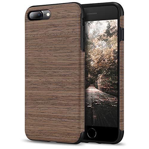Tasikar Funda iPhone 7 Plus/Funda iPhone 8 Plus Madera Natural Fácil de Sostener Funda Protectora para iPhone 7 Plus/iPhone 8 Plus (Rosa Negro)