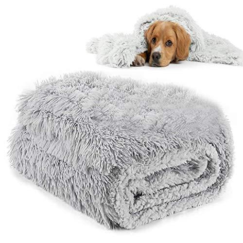 MMTX Fluffy Copertine per Cani Coperta per Gatti Lavabile Soffice Coperta Cane Morbido Caldo Cucciolo Animali Domestici Copertina Tappeto per Divano Letto Cane e Divano Grigio