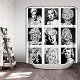 JQDFSR DuschvorhangHochwertige Retro Frauen Duschvorhang Sexy Marilyn-Monroe Porträt Badezimmer Polyester Stoff wasserdicht mit Haken