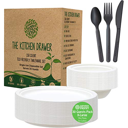 Disposable Paper Plates and Bowls Set, Eco-Friendly Tableware, THICK Heavy Duty Paper Plates 10' Bagasse. Large CPLA 7' Biodegradable Cutlery Sets, Compostable Plates Bowls Set 4 Party, BBQ, Camping