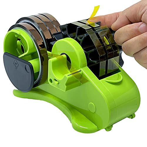 """Multi-Roll Semi-Automatic Desk Tape Dispenser - Cut Multiple Tapes to 1.5""""L at Once, On/Off Manual Cutter, 2 Cores (1"""", 3"""" Dia.) for Washi, Transparent, and Heat Resistant Sublimation Tapes"""
