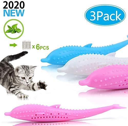 Mmester Katzen Zahnbürste, 3 Stück Katze Fischform Zahnbürste+ 6X Katzenminze,Kauen Zahnreinigung Spielzeug Umweltfreundlich Silikon Molar-Stick, Katzenminze Spielzeug.
