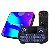 Android TV Box 11.0, RK3318 USB 3.0 Ultra HD 4K HDR 4GB RAM 64GB ROM 2.4G 5.8G Dual Band WiFi with BT 4.1 WiFi 100M Ethernet with Backlit Mini Keyboard Set Top TV Box