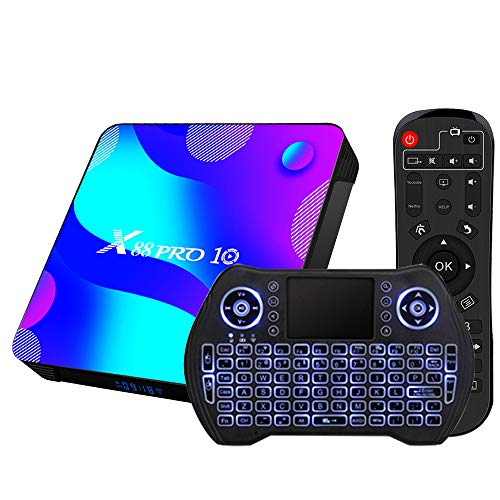 Newest Android TV Box 10.0,RK3318 USB 3.0 Ultra HD 4K HDR 4GB RAM 64GB ROM 2.4G 5.8G Dual Band WiFi with BT 4.0 WiFi 100M Ethernet with Backlit Mini Keyboard Streaming Media Player Set Top TV Box