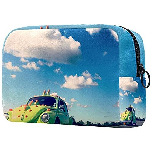 Bolsa de maquillaje grande con cremallera, bolsa de viaje, bolsa cosmética para mujeres y niñas escarabajo clásico coche