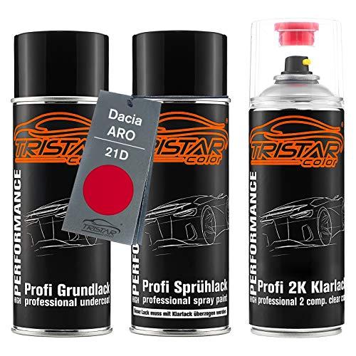 TRISTARcolor Autolack 2K Spraydosen Set für ARO/Dacia 21D Rouge Passion/Feuer Rot Grundlack Basislack 2 Komponenten Klarlack Sprühdose