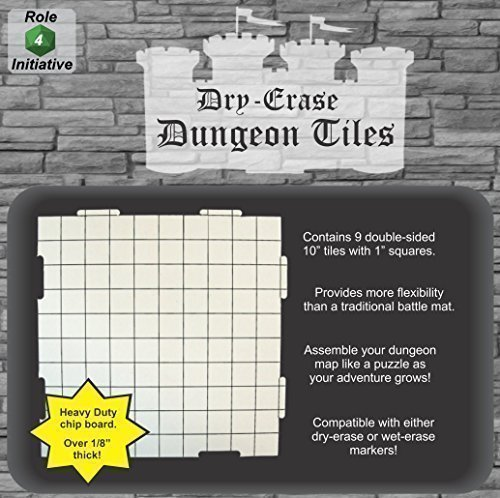 Role 4 Initiative Dry Erase 10 inch Dungeon Tiles - Pack of 9