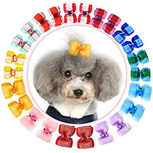 YOY Adorable Grosgrain Ribbon Pet Dog Hair Bows with Elastic Rubber Bands – Doggy Kitty Topknot Grooming Accessories Set for Long Hair Puppy Cat