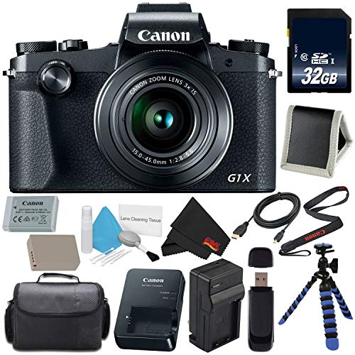 Canon PowerShot G1 X Mark III Digital Camera #2208C001 International Version (No Warranty) + Replacement Lithium Ion Battery + External Rapid Charger + 32GB SDHC Memory Card + Carrying Case Bundle