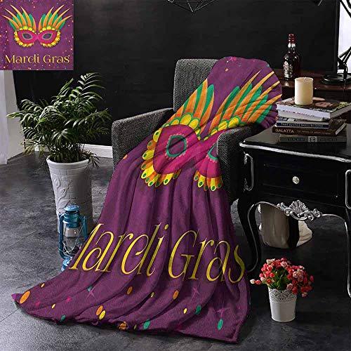 ZSUO bont gooien deken Kleurrijke Bands met Levendige Kralen Veren Masker en Crown Symbool Camping deken - het gooien van een deken