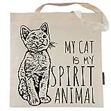 My Cat is My Spirit Animal Tote Bag by Pet Studio Art