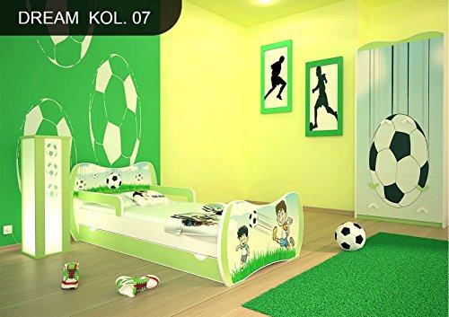 naka24 DM Kinderbett Grün mit Matratze Bettkasten und Lattenrost für Jungen Mädchen (140x70 cm, DM07 FUßBALL)