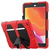 iPad 7th Generation Case, Lyperkin Silicone PC Heavy Duty Shockproof Case with Stand