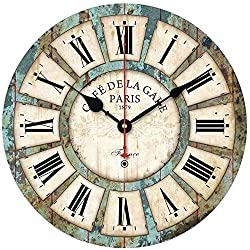 N/W Radio Controlled European Vintage Round Wooden Wall Clock 30Cm Indroom Quartz Multicolor Silent Wall Clock Environmentally Friendly Wall Clocks