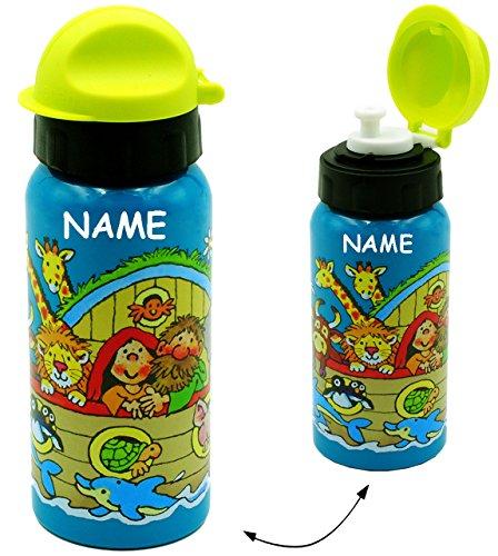 alles-meine.de GmbH Trinkflasche / Sportflasche -  Arche Noah - Tiere / Zootiere  - incl. Name - Alutrinkflasche - auslaufsicher - 420 ml - aus Aluminium - für Kinder - Aluflas..