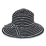 San Diego Hat Company Women's Striped Sun Brim - One Size, Black/White