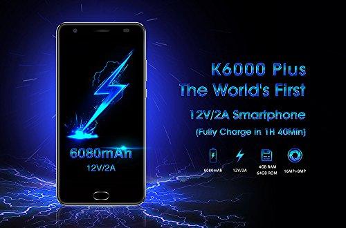 OUKITEL K6000 Plus - Android 7.0 6080mAh batteria Smartphone 5.5 pollici 4GB di RAM 64GB ROM MTK6750T Octa core da 1.5GHz 8.0MP + 16.0MP fotocamera Fast Charge - Grigio