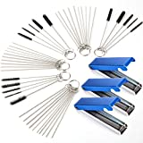 Set of 6 Carburetors Carbon Dirt Jet Remove Cleaner, 39 Pieces Wire Torch Tip Cleaner Tool, 30 Pieces Needles and 15 Pieces Brushes Cleaning Tool Kit for Motorcycle Moped Welder Carb Spray Gun Cleaner