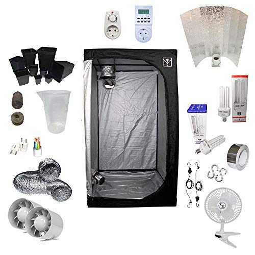 Kit Coltivazione Indoor 125W CFL Crescita e Fioritura - Grow Box 80x80x160 - Adjust-a-Wings