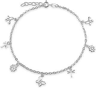 Multi Butterfly Dragonfly Flower Anklet Dangle Charm Ankle Bracelet 925 Sterling Silver Adjustable 9-10 In Extender