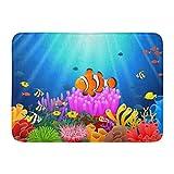 MARIODP Alfombrilla Antideslizante para Puerta de baño Azul Animal Payaso Pez bajo el mar Colorido Acuario Belleza Fondo 15.8'x23.6'