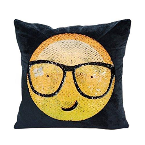Zerlar Reversible Emoji de Lentejuelas Manta Funda de Almohada Funda de cojín con la Cara de Intercambiables para sofá casa Coche DIY Decorativo, Pride & Dissatisfaction (1 Pack), 16 * 16 Inches
