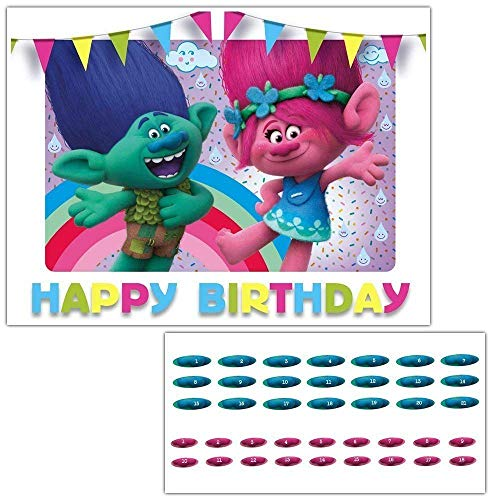 Trolls Movie Pin the Nose on Poppy and Branch Birthday Party Game