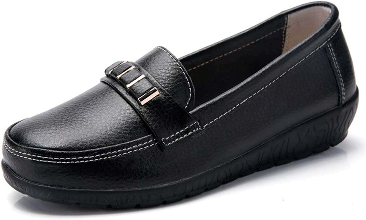 BMTH Women's Leather Loafers Casual Slip On Cowhide Round Toe Moccasins Comfort Driving Flats Boat shoes Oxford Loafer