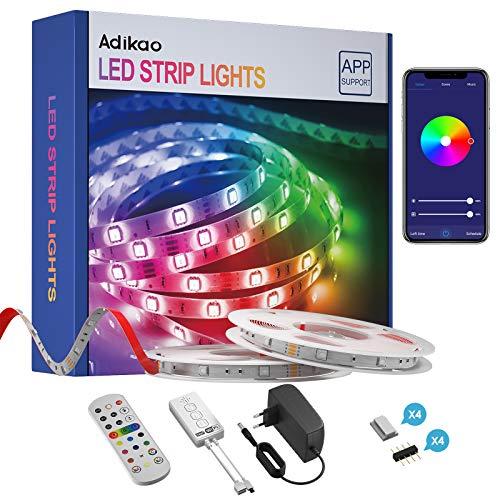 Adikao Striscia LED 10M, WiFi SMD 5050 RGB Strisce, Controllo App e Telecomando IR, Compatibile con Alexa Echo e Google Assistant, Sincronizza con la Musica per Stanza da Letto, Feste e Decorazioni
