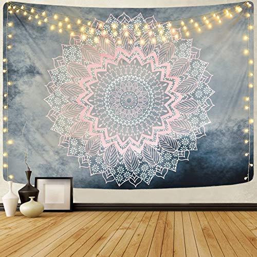 Alishomtll - Tapiz de pared con mandala de loto indio (130 x 150 cm), color gris y rosa