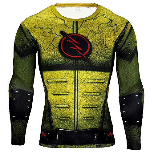 HOOLAZA Reverse Flash T Shirt Camisa de Fitness para Hombre Amarillo Jogging Motion Manga Larga