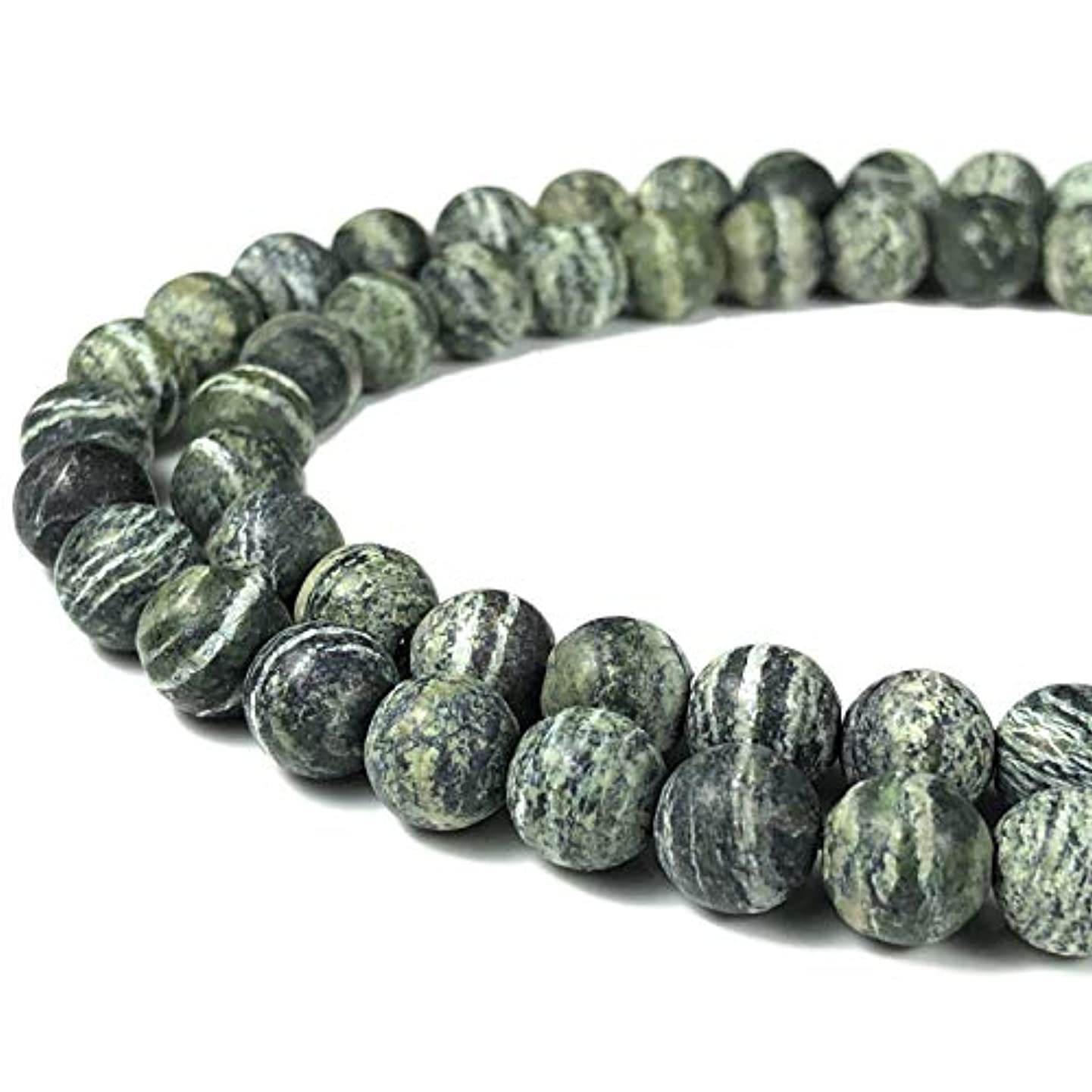[ABCgems] Matte Brazilian Silver Leaf Serpentine (Beautiful Zebra Matrix) 8mm Smooth Round Beads for Beading & Jewelry Making