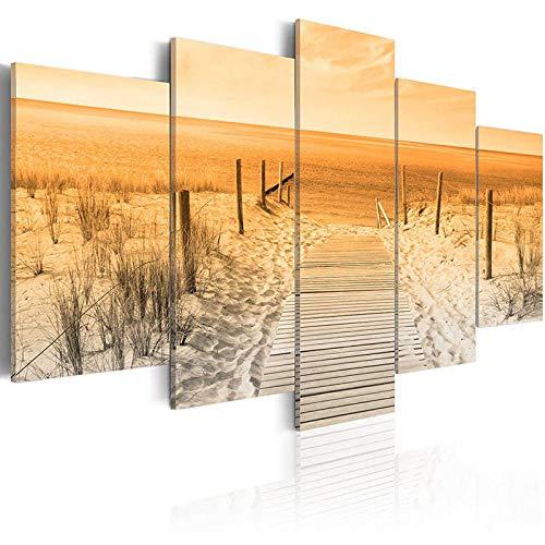 TXFMT Geen frame canvas decoratie schilderij handgemaakte DIY Houten brug landschap strand gras natuurlijke zeegezicht 5 stuk moderne landschap artwork hd foto's schilderijen op canvas muur kunst voor woonkamer bedr 200*100CM