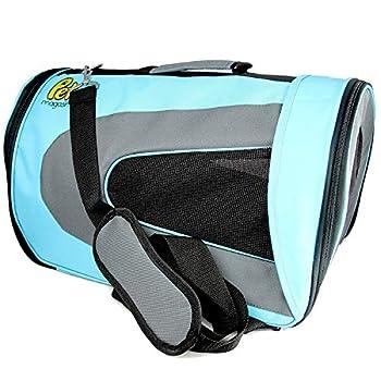 Sac de Transport pour Chat - Bandouliere Caisse de Transport pour Chat, Petit Chien, Lapin, Demontable Lavable Respirant et Pliable (Bleu)