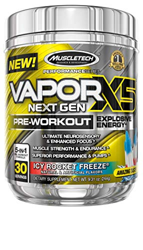Pre Workout Powder   MuscleTech Vapor X5   Pre Workout Powder for Men & Women   PreWorkout Energy Powder Drink Mix   Sports Nutrition Pre-Workout Products   ICY Rocket Freeze (30 Servings)